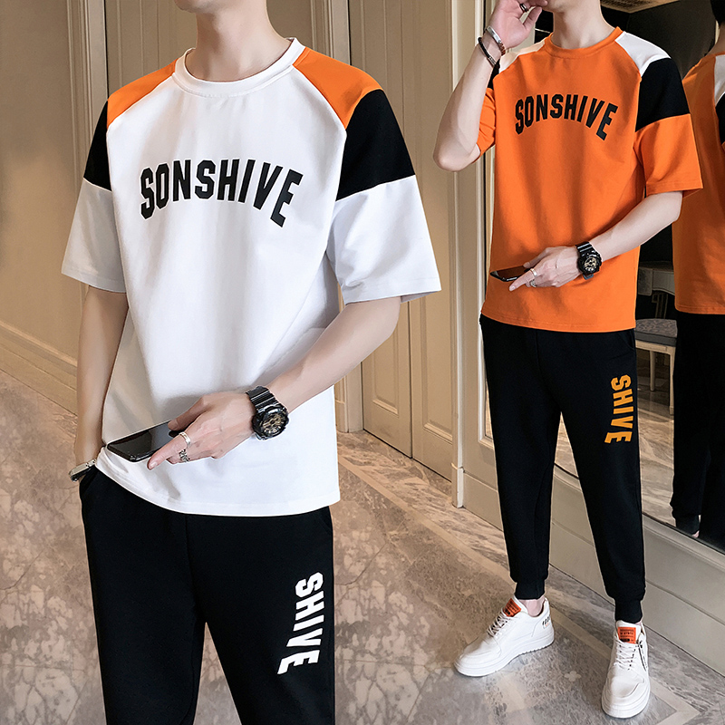 Summer youth 13-14-15-16-19 boys junior high school students big boys short sleeve T-shirt sports suit trend