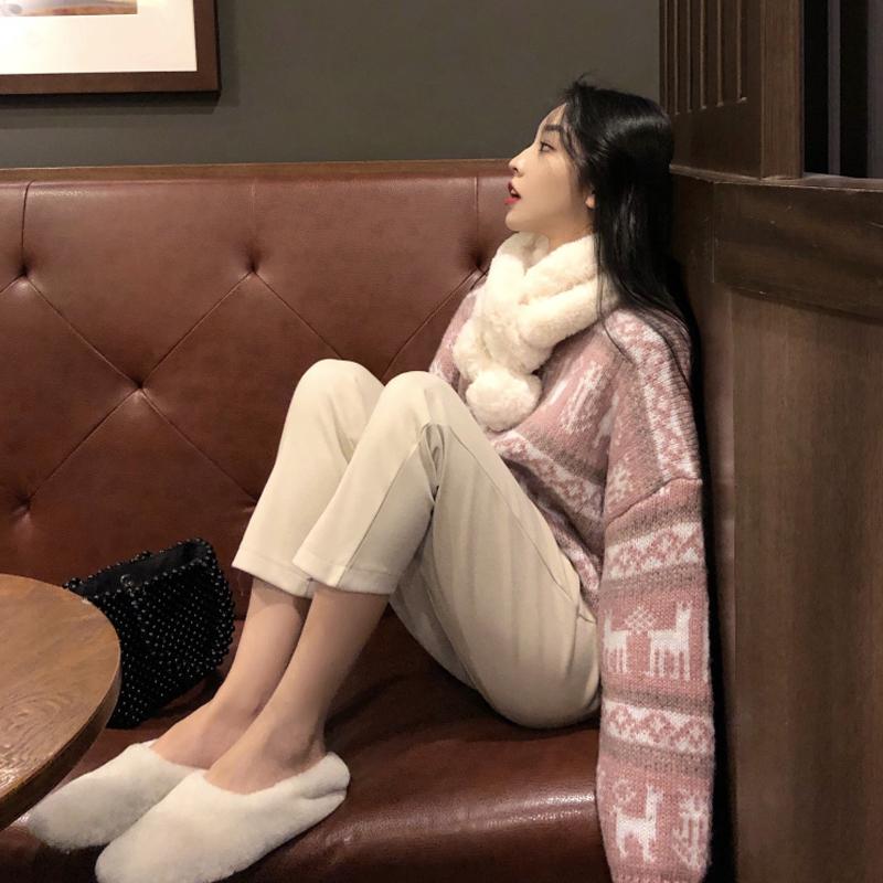 秋冬气质套装女2019新款洋气套头毛衣+毛呢九分阔腿裤网红两件套