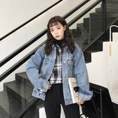 宽松休闲时尚 长袖 学院风夹克上衣 网红牛仔外套女初秋2019新款 韩版