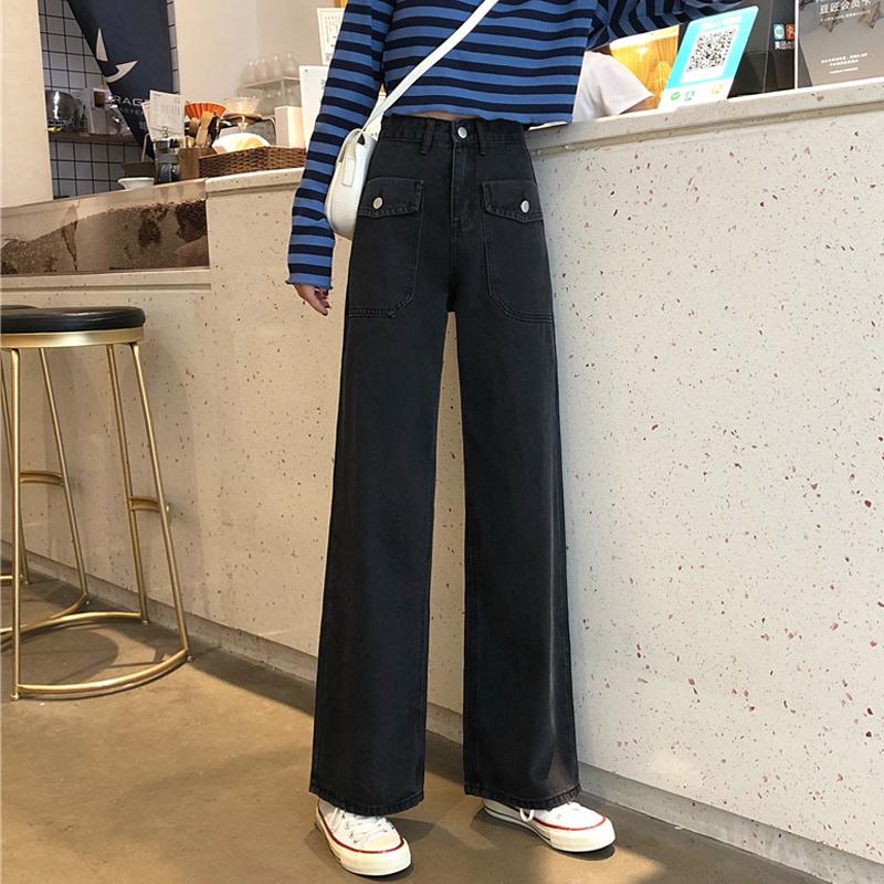 黑色裤子秋冬2019新款韩版高腰牛仔裤女宽松显瘦阔腿裤百搭直筒裤