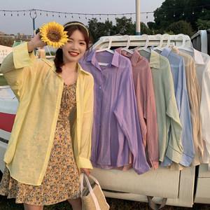 洋气小衫夏季2020新款韩版宽松设计感小众轻熟衬衫女长袖防晒衫潮