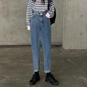 高腰牛仔裤女2019秋季新款裤子宽松百搭显瘦直筒裤学生休闲裤长裤
