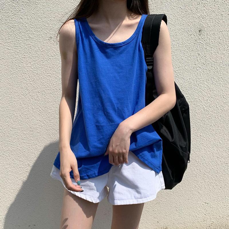 韩版宽松吊带外穿夏季bf风纯色t恤(非品牌)