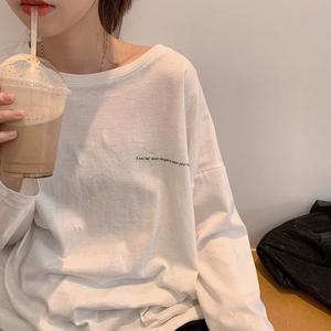 初秋新款2019韩版宽松白色薄款打底长袖T恤女装学生百搭上衣ins潮