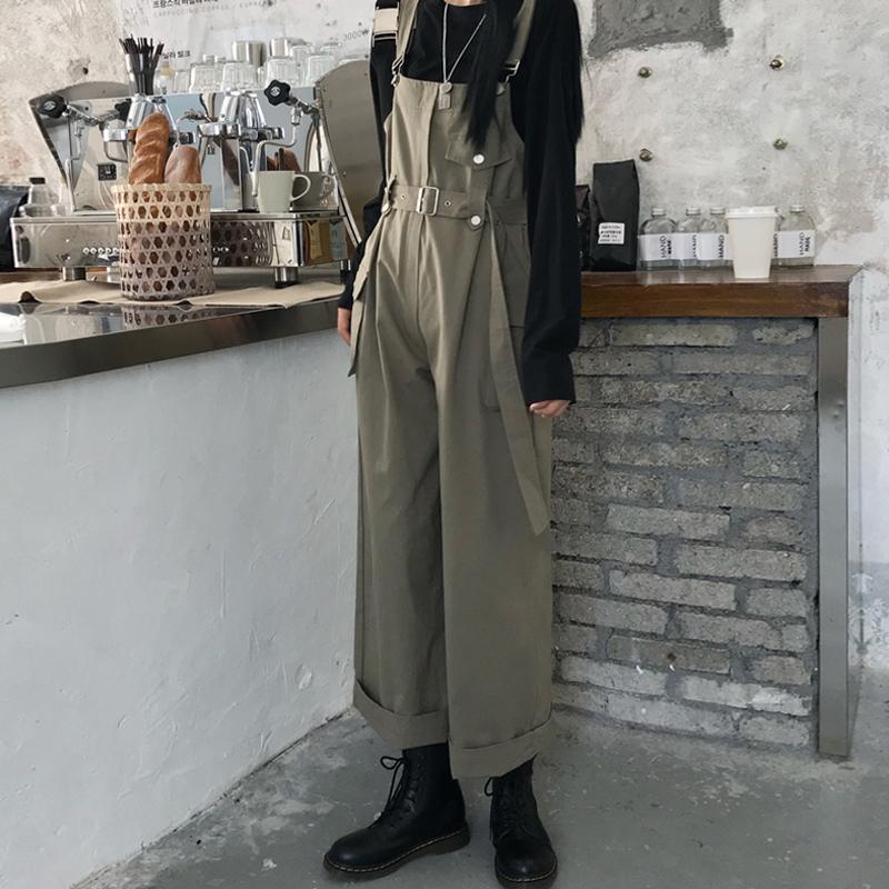高腰显瘦垂感工装休闲裤女2020早春新款韩版宽松连体裤百搭背带裤