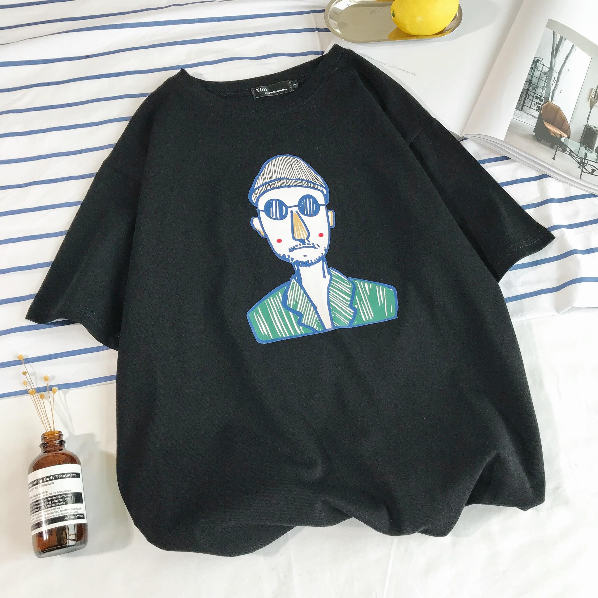 18春夏新款港仔风宽松短袖T恤男士休闲C416-1-N04-P15摆拍图黑色