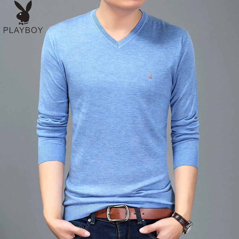 Playboy spring thin sweater mens V-neck solid color mens sweater base coat Long Sleeve T-Shirt sweater top