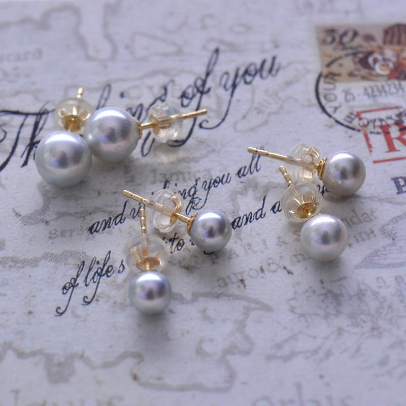 Genuine natural Mini Akoya pearl earrings silver grey small light bulb genuine hemp 18K Gold imported from Japan