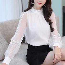 木耳领蕾丝灯笼袖拼接雪纺衬衫白色长袖衬衣女2020新款打底上衣