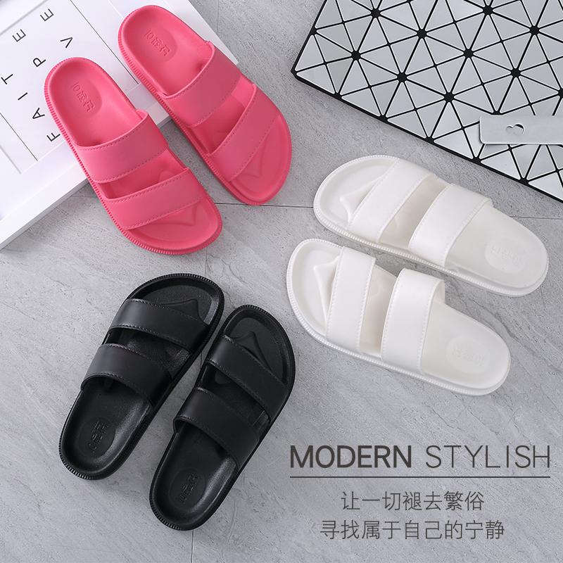沙滩拖鞋女学生韩版防滑浴室居家外穿松糕一字拖鞋女夏2017新款