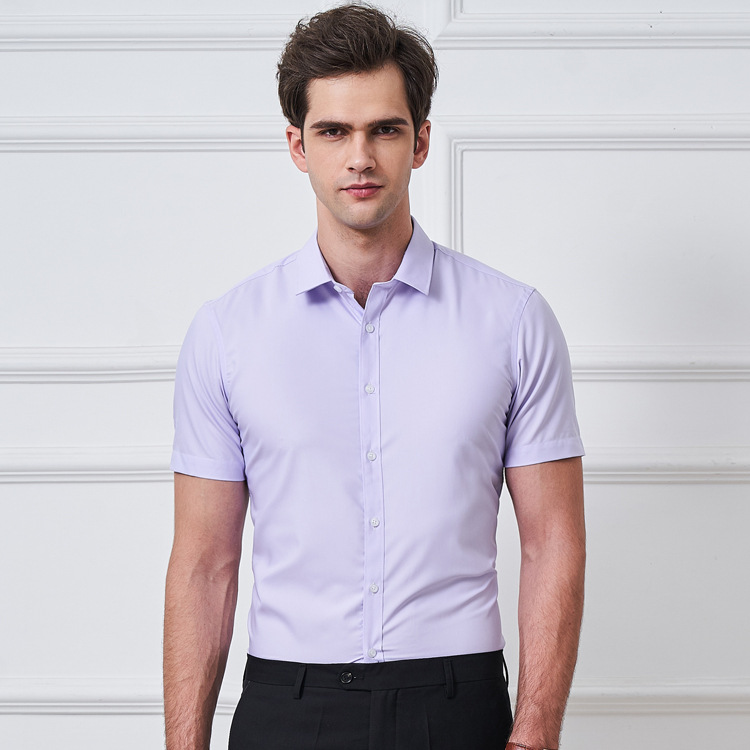 Summer thin short sleeve shirt mens shirt mens shirt easy to wear anti wrinkle solid color slim business professional formal dress