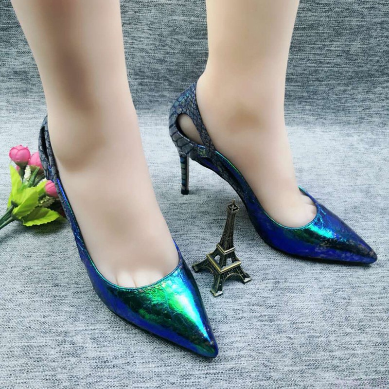 New style slim high heel, pointed head, shallow mouth, spring and summer hollow, breathable, colorful bright leather, all in all, small size 34 sexy womens shoes