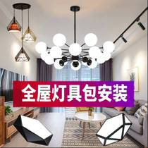 美式工业风创意咖啡厅吧台玻璃圆球灯具复古轻奢餐厅三头吊灯组合