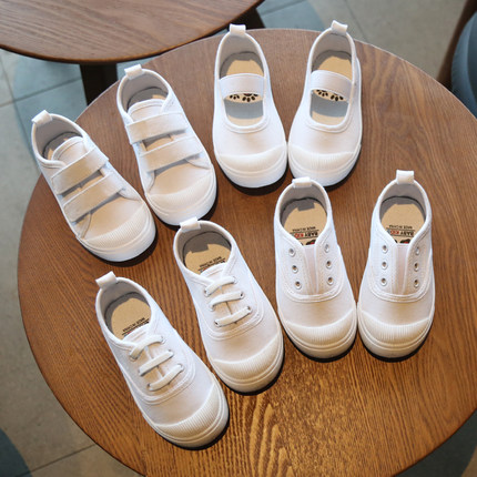 2019春秋新款儿童帆布鞋幼儿园室内鞋校园指定小白鞋男女宝宝童鞋