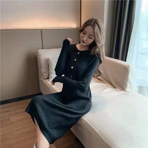 實拍~秋冬季坑條長袖針織連衣裙修身顯瘦中長款過膝毛衣打底裙