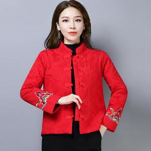 唐装女长袖棉衣中式盘扣冬装棉袄棉麻复古外套民族中国风女装汉服