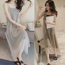 孕妇夏装套装2020时尚韩版雪纺连衣裙无袖背心裙吊带长裙两件套装