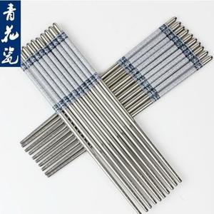 不锈钢筷子青花瓷印花筷子10双装家用酒店防滑不锈钢筷子