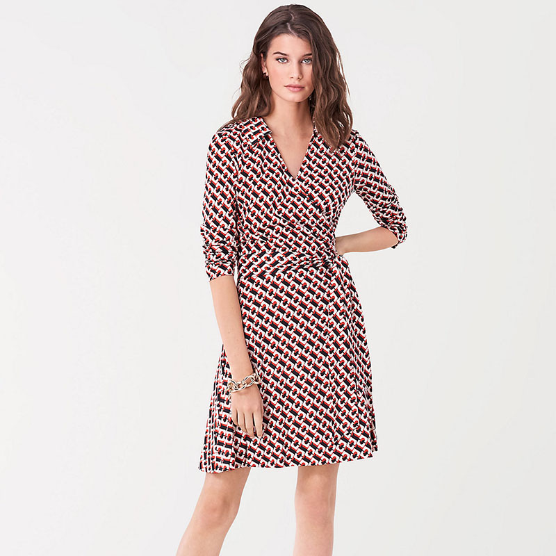 XC DVF official website wrap dress orange Chain Collar one piece French lace up commuter dress