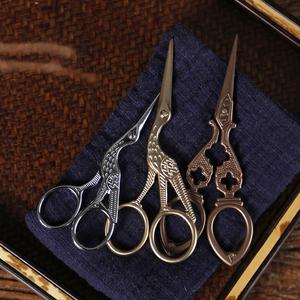 中式复古家用小剪刀 茶道配件手工剪纸刀 不锈钢茶叶袋包线头剪子
