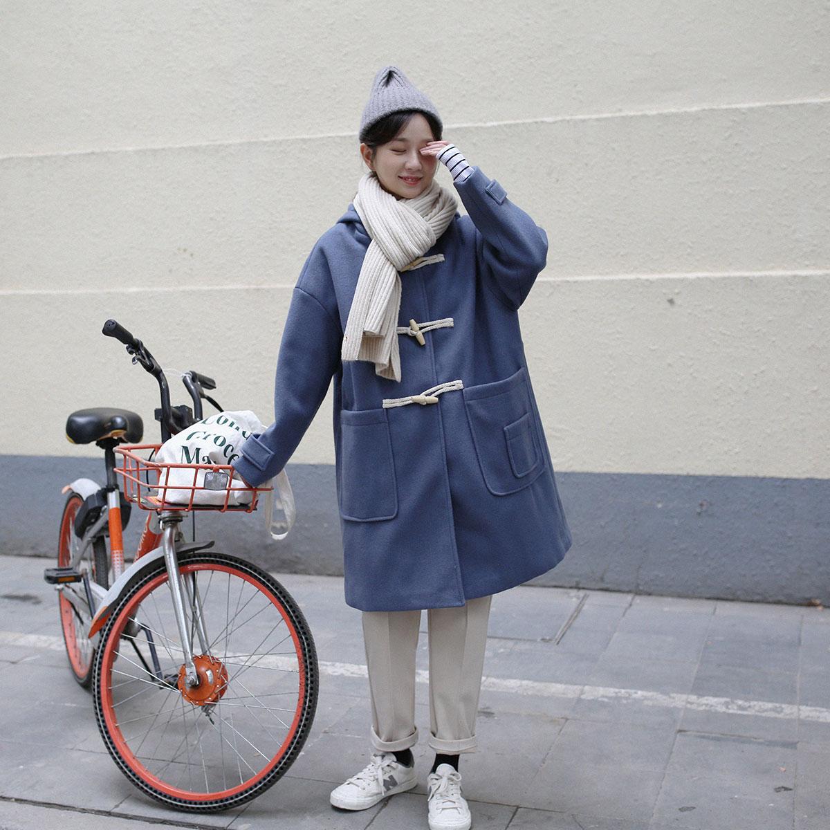 三木社/自制日系牛角扣呢大衣中长款毛呢外套女连帽宽松冬装 3色