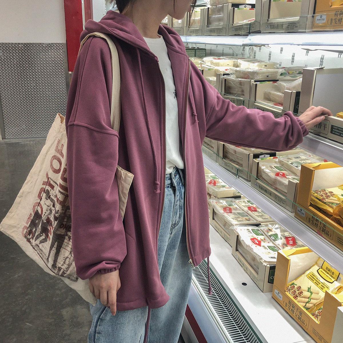 三木社 自制日系宽松小个子连帽拉链卫衣女开衫外套学生秋装新品图片