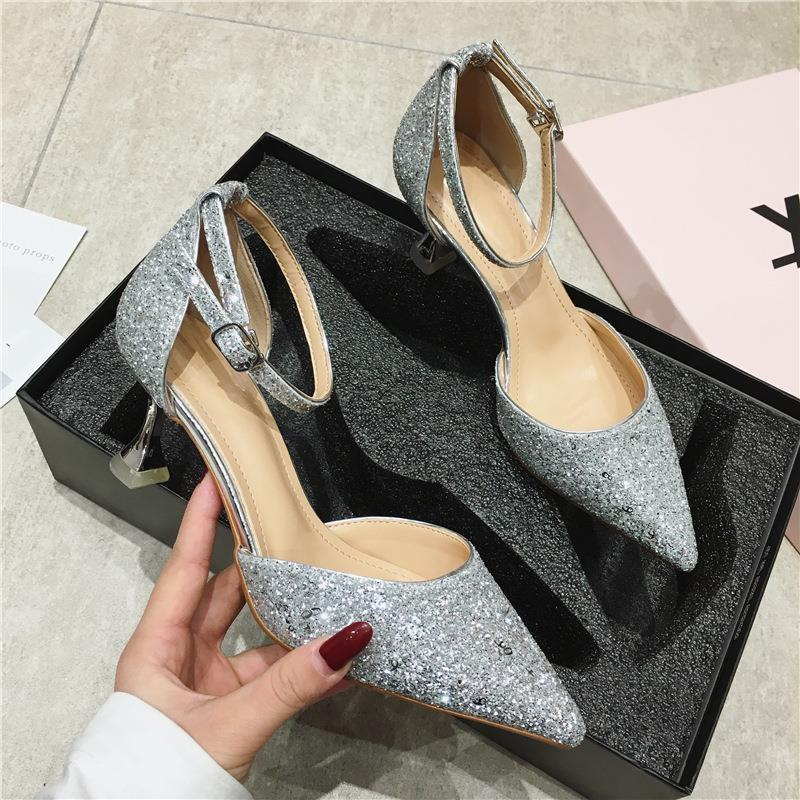 Korean pointed single shoes French low heel one line buckle sandals crystal shoes slim heels fairy style shallow high heels