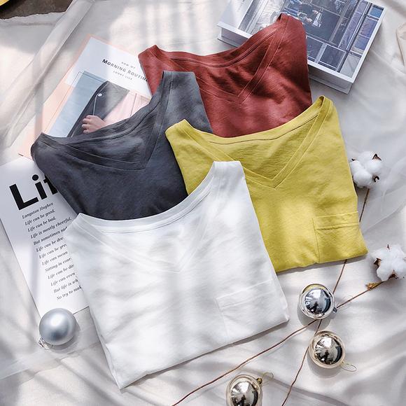 K姐自制 软软TEE 定织10%羊毛柔软V领口袋宽松短袖T恤上衣女