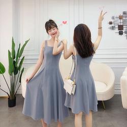 K姐自制 闺蜜连衣裙 绒感麻两色可选撞色明线装饰长短款连衣裙女