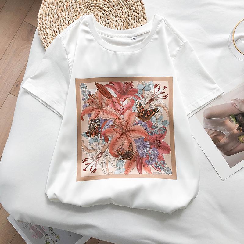 K姐自制 妈妈T系列 弹力缎圆领休闲印花短袖T恤上衣女