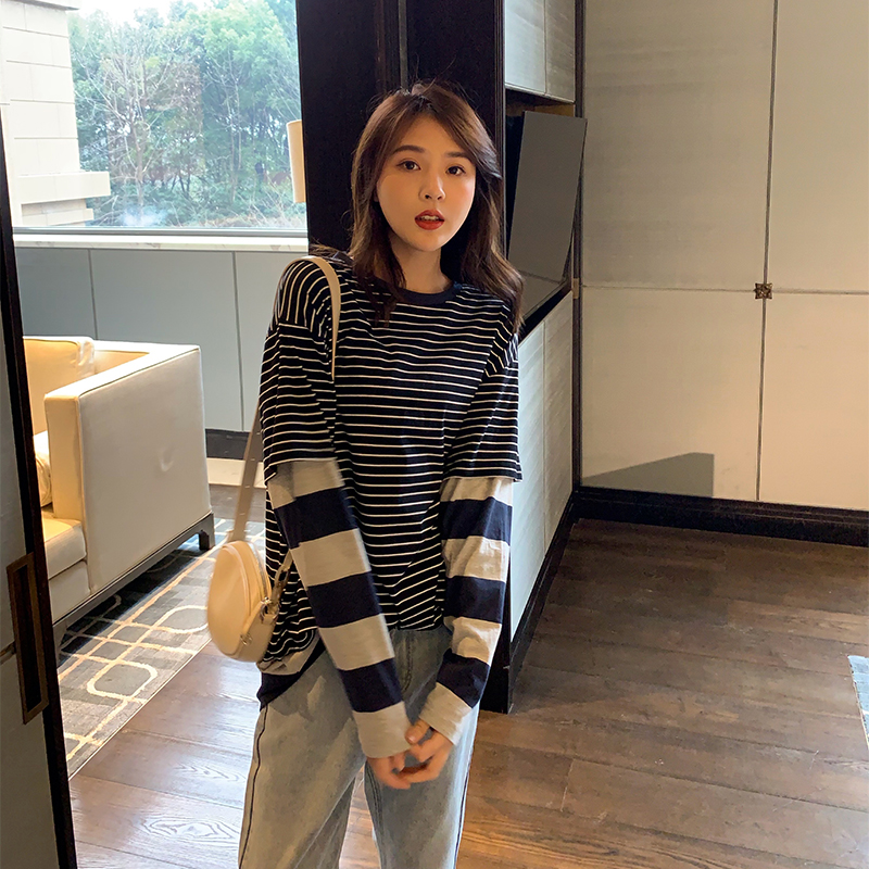 Sister K's homemade fake two-piece striped T-shirt Kabi cotton round neck stitching loose casual long-sleeved shirt women