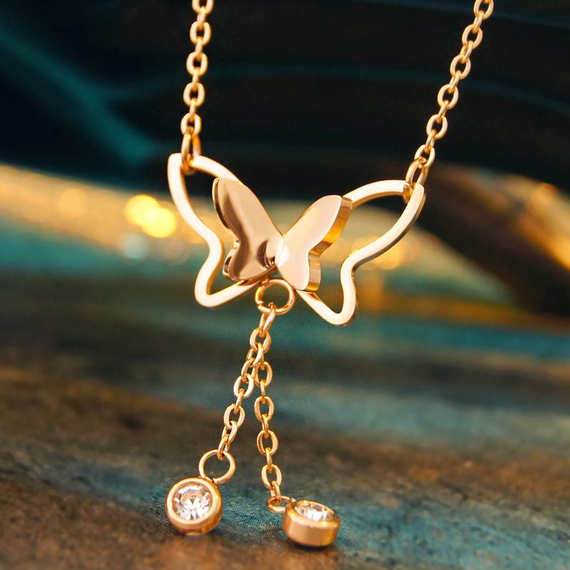 流苏蝴蝶项链嘻哈女 锁骨链玫瑰金不掉色防过敏 气质钛钢吊坠网红