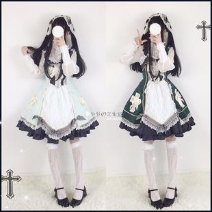 夏季日系軟妹洛麗塔洋裝日常少女十字架復古lolita吊帶jsk連衣裙