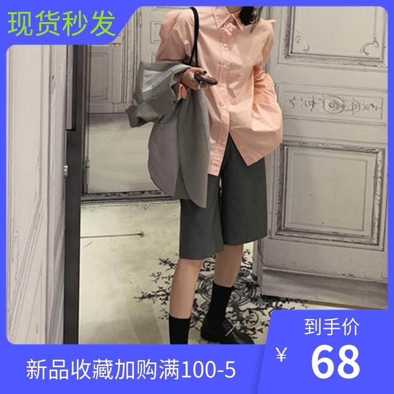 券后149.00元mona五分裤宽松秋季新款2019皮短裤