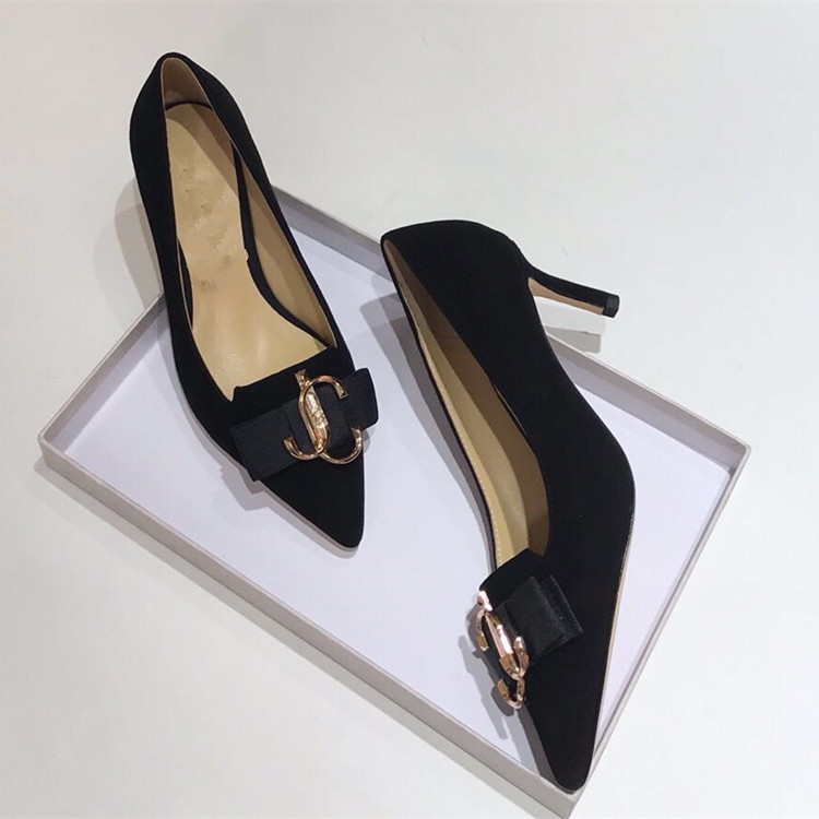 Europe and Americas 19-year-old Black Cashmere top pointed flat shoes bowknot high heels womens shoes