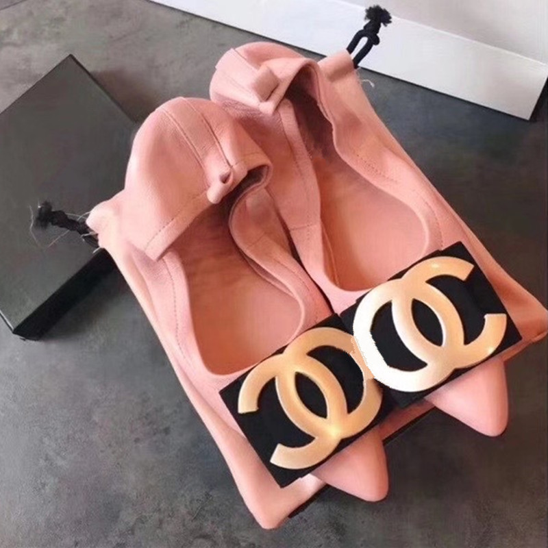 Korean versatile small fragrance double C single shoes womens shoes 2020 new flat bottom egg roll shoes big red ballet shoes