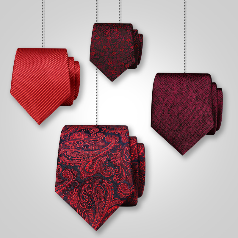 Fashion Red Marriage Tie Men's Suit Business Groom Groomsman Wedding Career Narrow Leisure Korean Wine Red