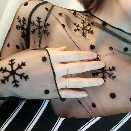 网纱透视打底衫女长袖2017春季新款蕾丝网格内搭网状性感长款上衣