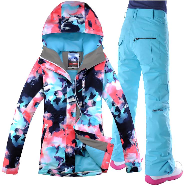Gsou Snow катание на лыжах одежда женские костюмы на открытом воздухе новая anti вода восхождение одежда корея волна двойная плита шпон катание на лыжах одежда