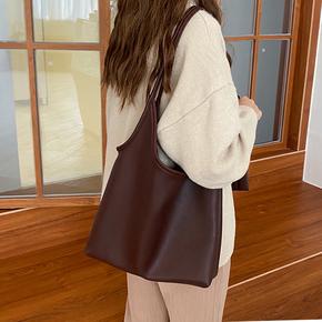 托特包女大容量韩版简约单肩包2020新款纯色轻便软皮子母大包包潮