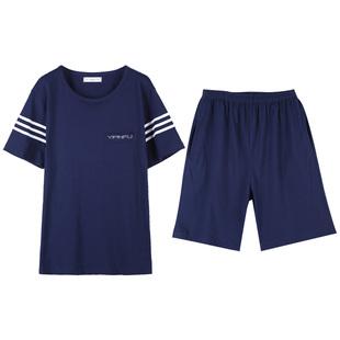 中年男士睡衣短袖短褲中老年爸爸夏天薄款老人父親純棉家居服套裝