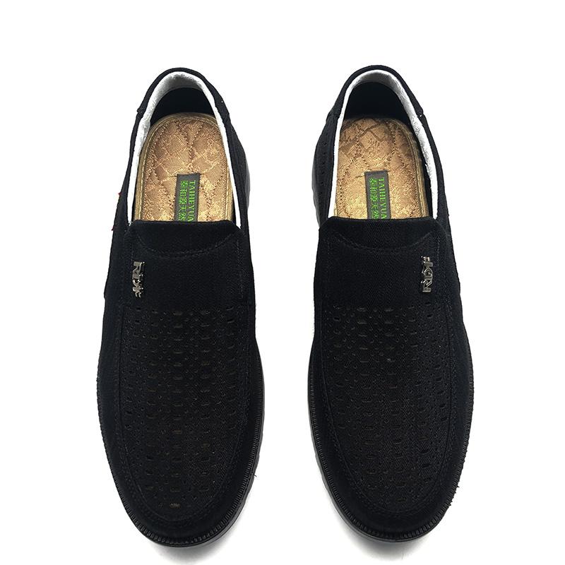 夏款上新泰和源老北京布鞋一脚蹬男单鞋商务休闲鞋吸汗透气网鞋