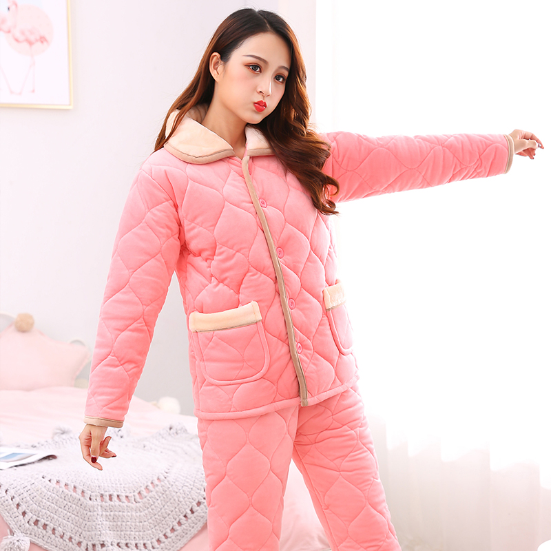 Womens cotton pajamas winter crystal velvet flannel three layer thickened cotton padded jacket warm girls home clothes set