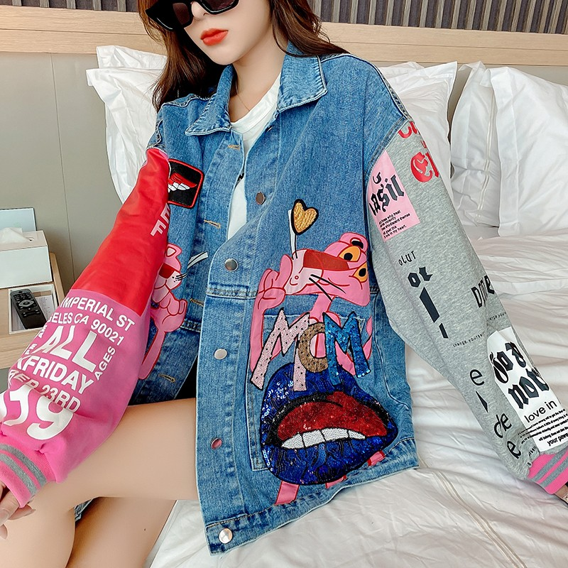 Thailand fashion brand 2020 new denim jacket womens cartoon foreign style Sequin loose tooling color matching jacket spring