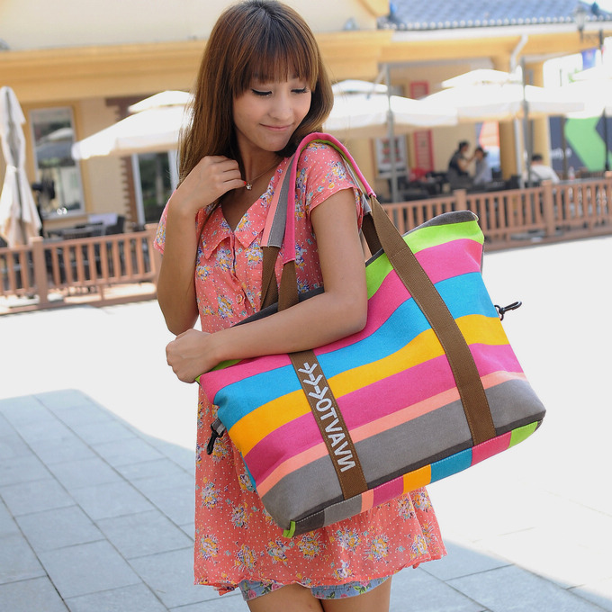 New canvas bag womens bag color stripe large bag Korean leisure large capacity portable shoulder bag straddle bag