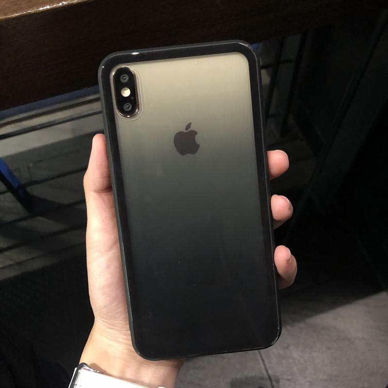 (用43.1元券)简约大方男生iPhoneXSMAX手机壳XR苹果8plus6s7钢化玻璃渐变黑色