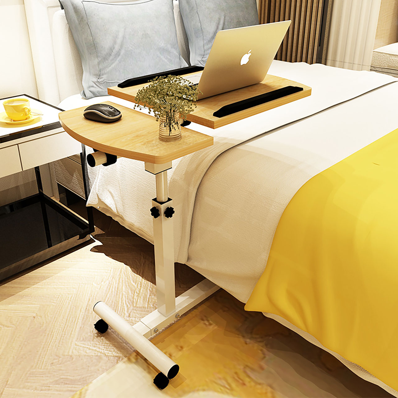 亿家达笔记本电脑桌子床上学习用家用升降可折叠移动床边桌子简约