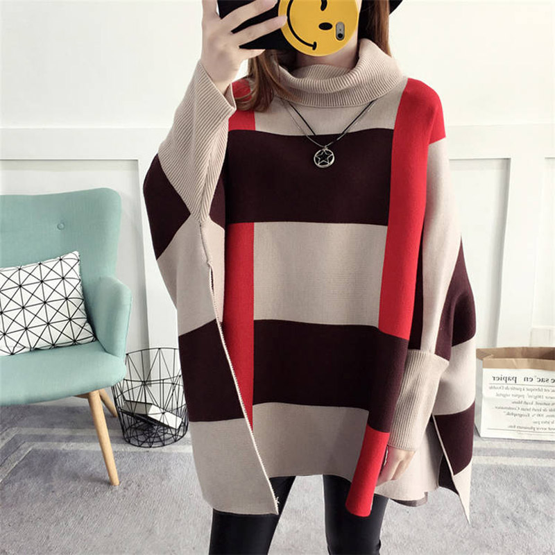 New high neck tassel sweater womens coat head medium length Korean loose Cape knitted Batman shirt
