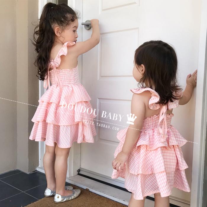 女童蛋糕连衣裙夏装2019新款格子儿童公主裙蓬蓬裙女宝宝裙子欧美热销4件不包邮