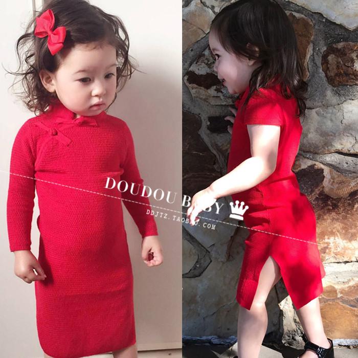 中國民族風親子女童旗袍加厚連衣裙秋冬女孩女童紅色裙子周歲秋款